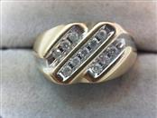 Gent's Diamond Cluster Ring 11 Diamonds .22 Carat T.W. 10K 2 Tone Gold 3.6g